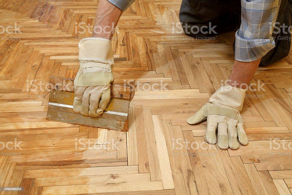 Home renovation, parquet finishing stock photo