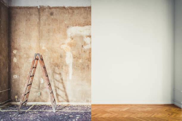 Renovierungs, Zimmer vor und nach der Restaurierung / Sanierung - – Foto
