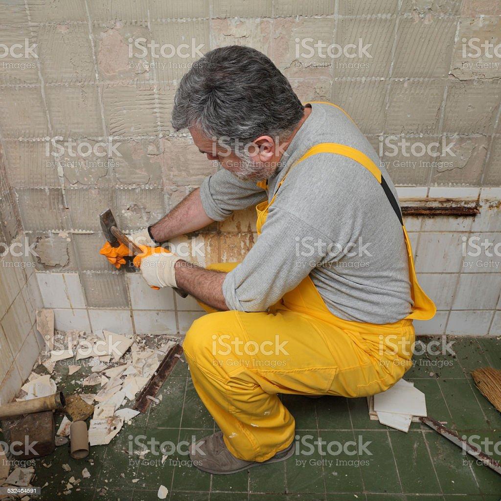 Home renovation, tile demolish stock photo
