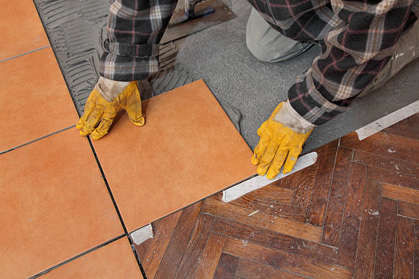 Home renovation, tiles stock photo