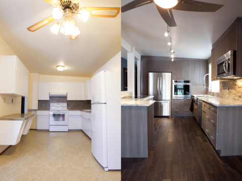 Domestic kitchen renovation before and after.