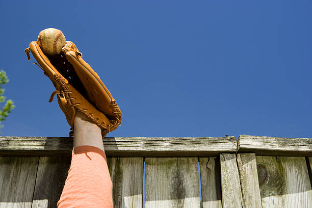Home run stolen Home run stolen from leaping outfielder on sandlot field. all star stock pictures, royalty-free photos & images