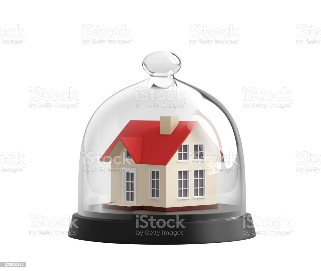 Home safety. House under glass bell jar stock photo