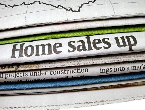 Home Sales Up Headline stock photo