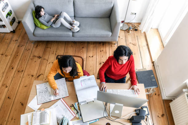 home schooling and home office stock photo