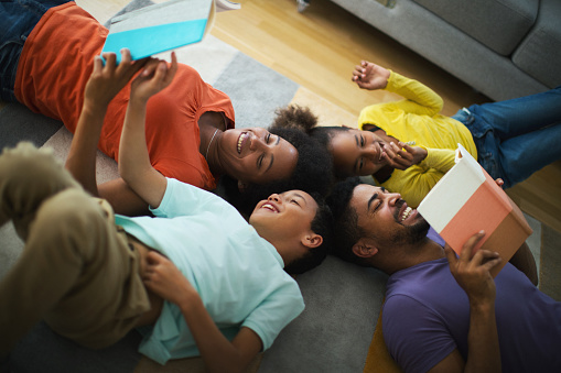 Family at home stock photos