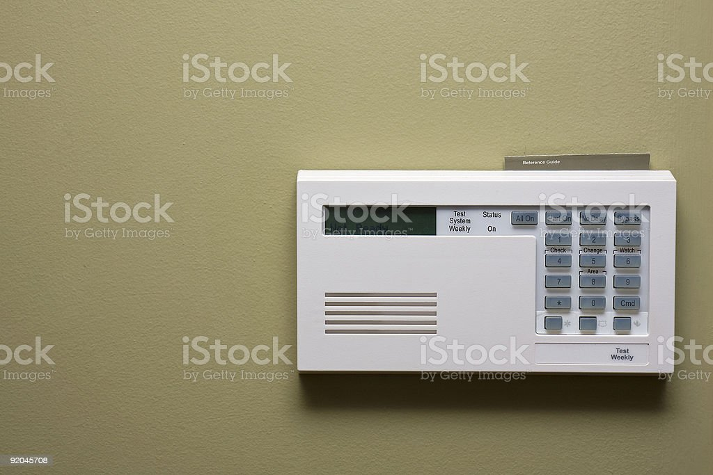 home security control panel stock photo
