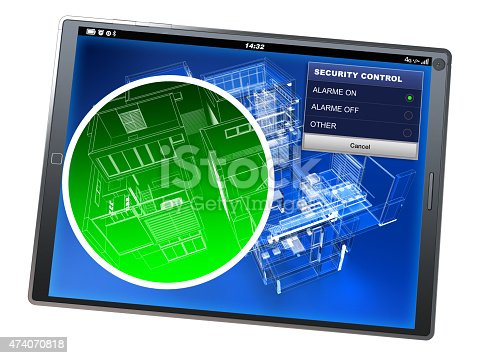 475693130 istock photo Home security control tablet app 474070818