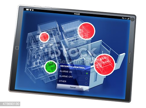istock Home security control tablet app 475693130