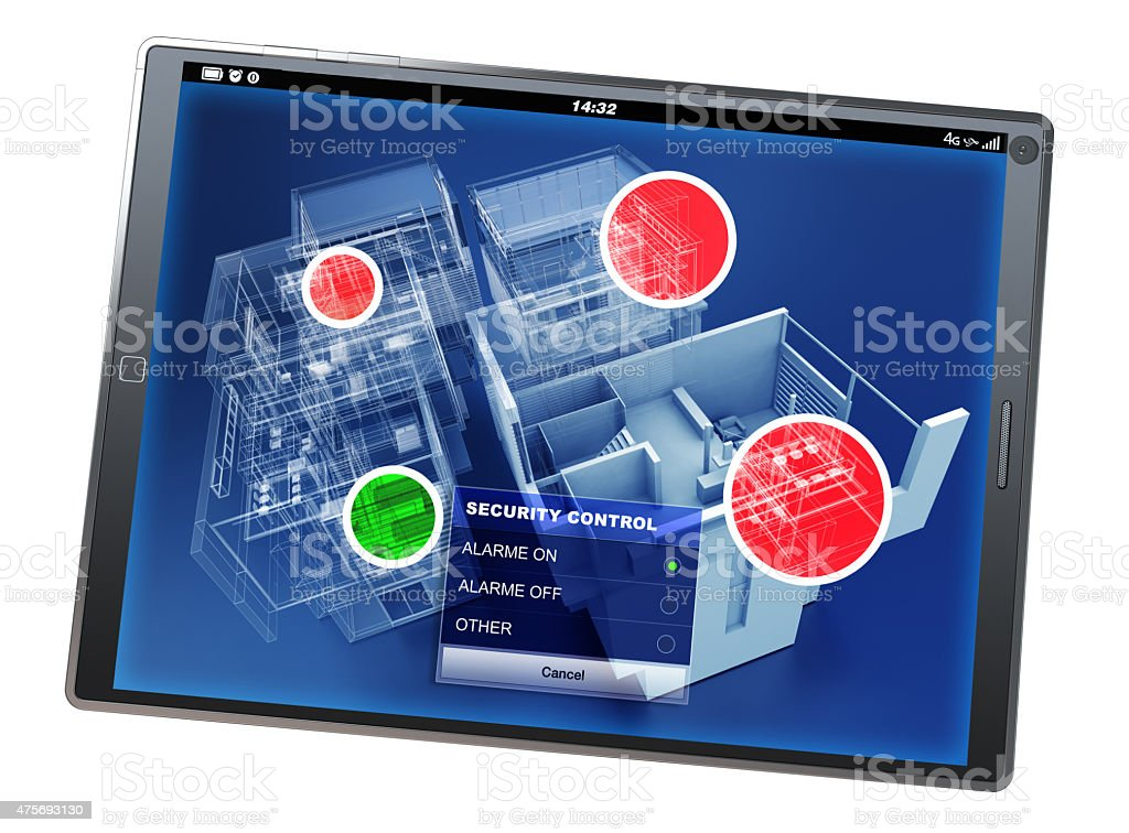 Home security control tablet app stock photo