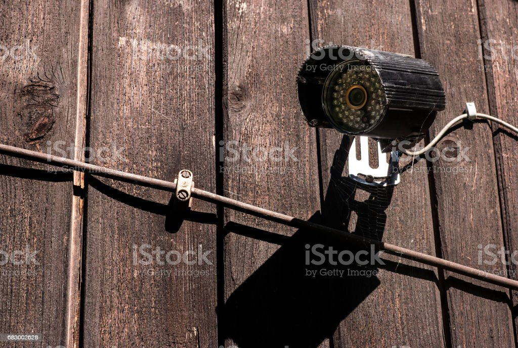 Home set security camera with cables. foto de stock royalty-free