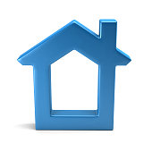 For Website Home or Real Estate Cute House Shape. 3D Rendering Illustration