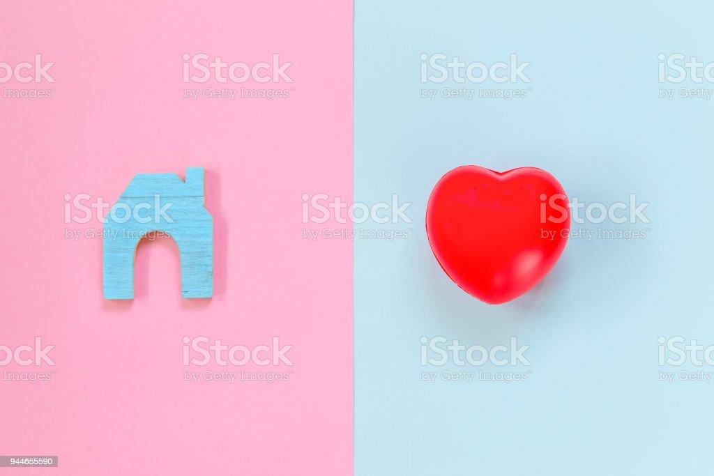 home shape wood and heart stock photo