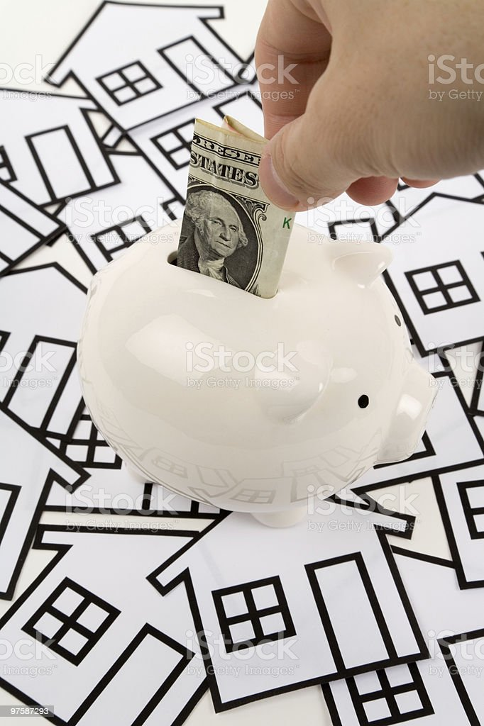 home sign and piggy bank royaltyfri bildbanksbilder