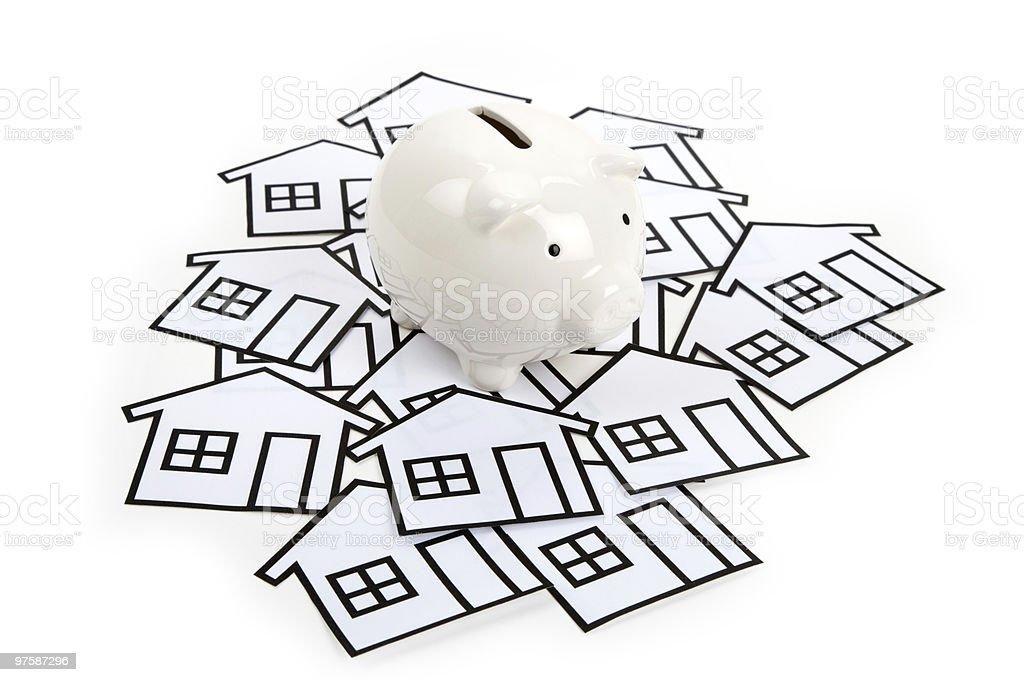home sign and piggy bank royaltyfri bildbanksbilder
