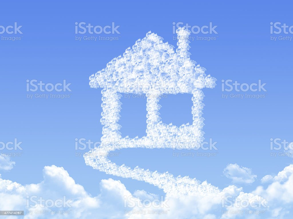 Home sign on Cloud shaped ,dream concept stock photo