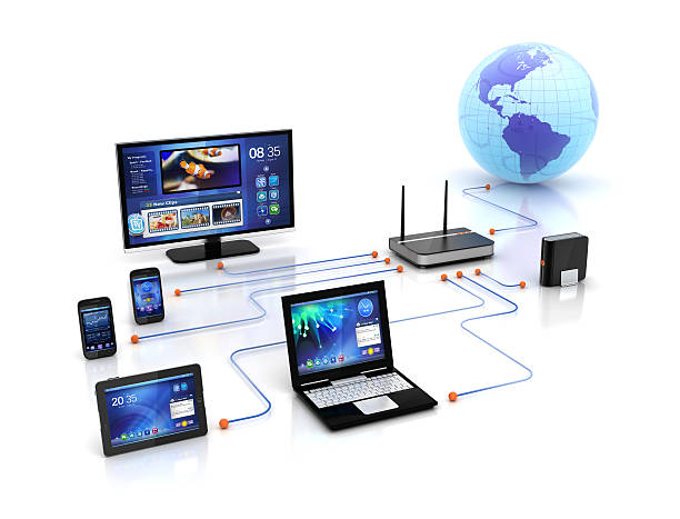 home solution & wifi devices network - diagram stock pictures, royalty-free photos & images