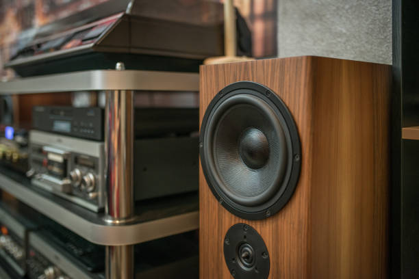 Home sound system  natural wood sound system Home sound system  natural wood sound system stereo stock pictures, royalty-free photos & images