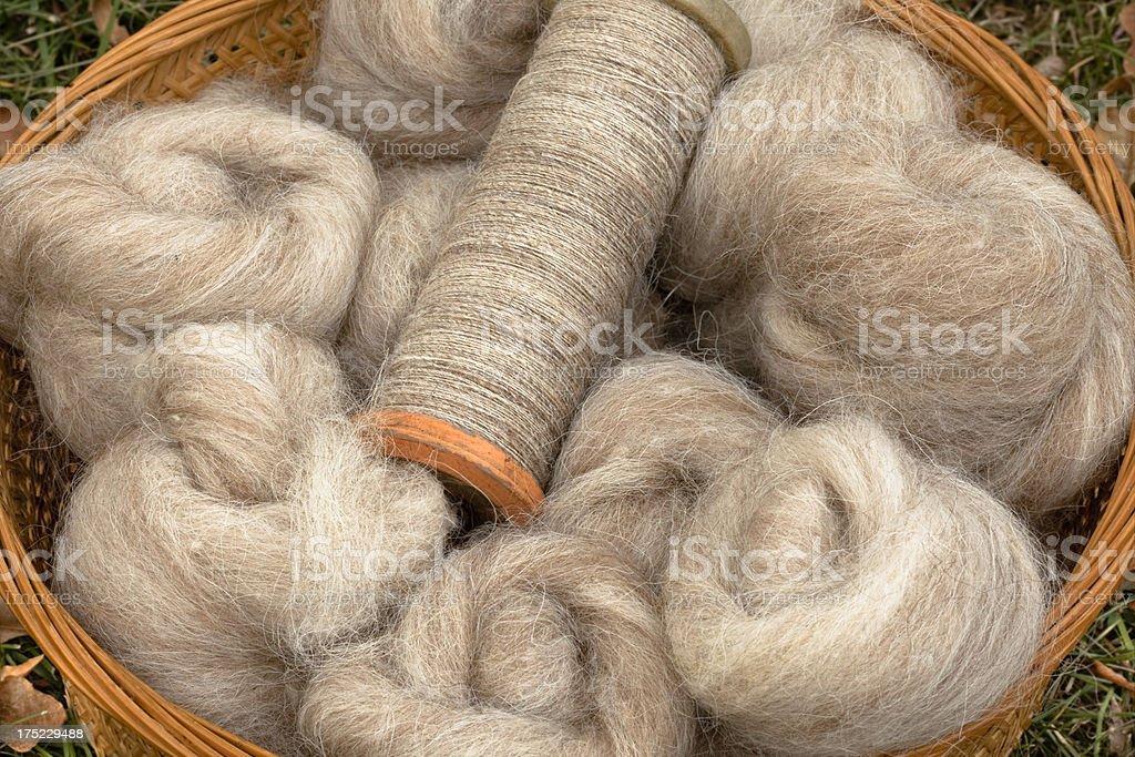 Home Spun Wool Yarn and Fiber Roving stock photo