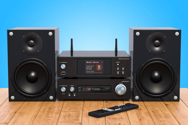 Home Stereo System on the wooden table, 3D rendering stock photo