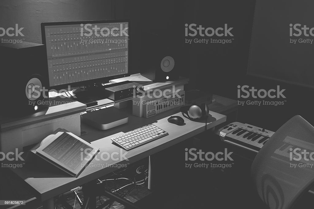 home studio, com-music, sound design concept stock photo