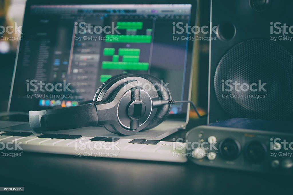 Home Studio Computer Music Station portable set up. stock photo