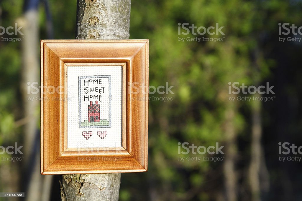 Home Sweet Forest cross stitch stock photo
