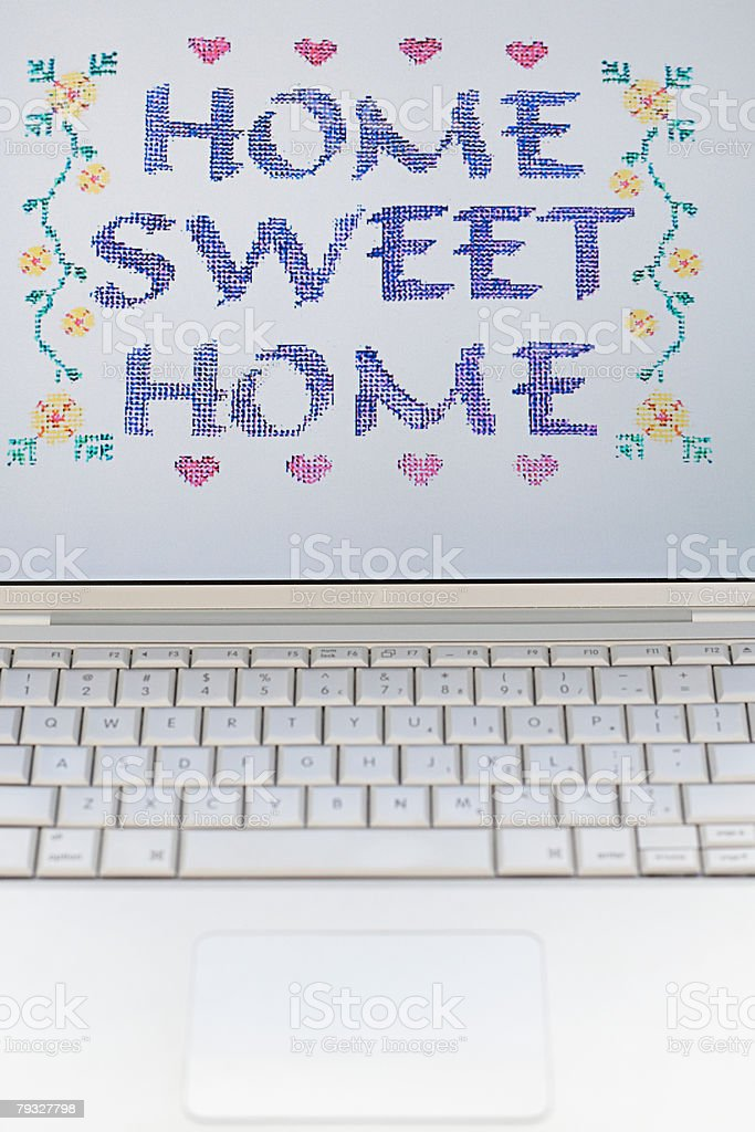 Home sweet home on a computer monitor 免版稅 stock photo
