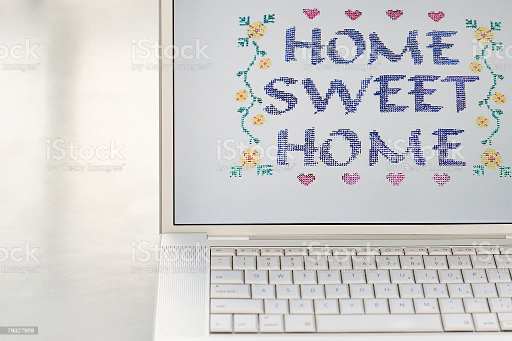 Home sweet home on a computer monitor royalty-free 스톡 사진