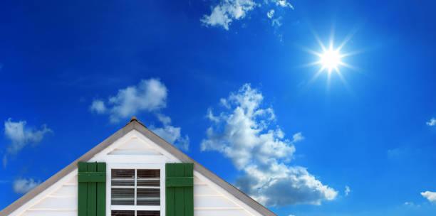 home sweet home over sunny blue sky stock photo