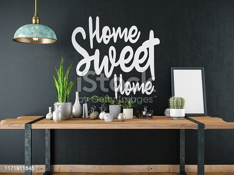 1153448605 istock photo Home Sweet Home Sign with Table and Decors 1171911845