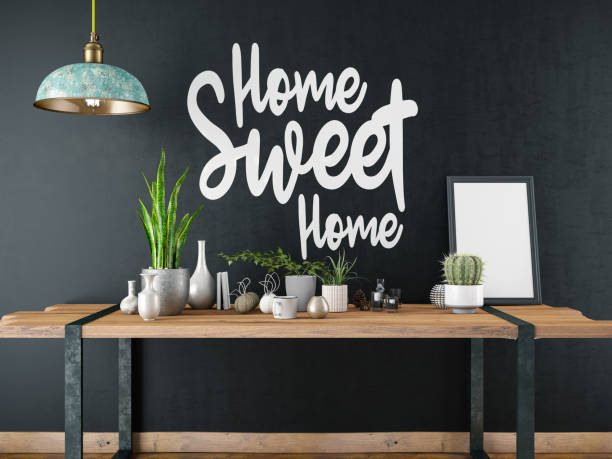 home sweet home sign with table and decors - home sweet home imagens e fotografias de stock