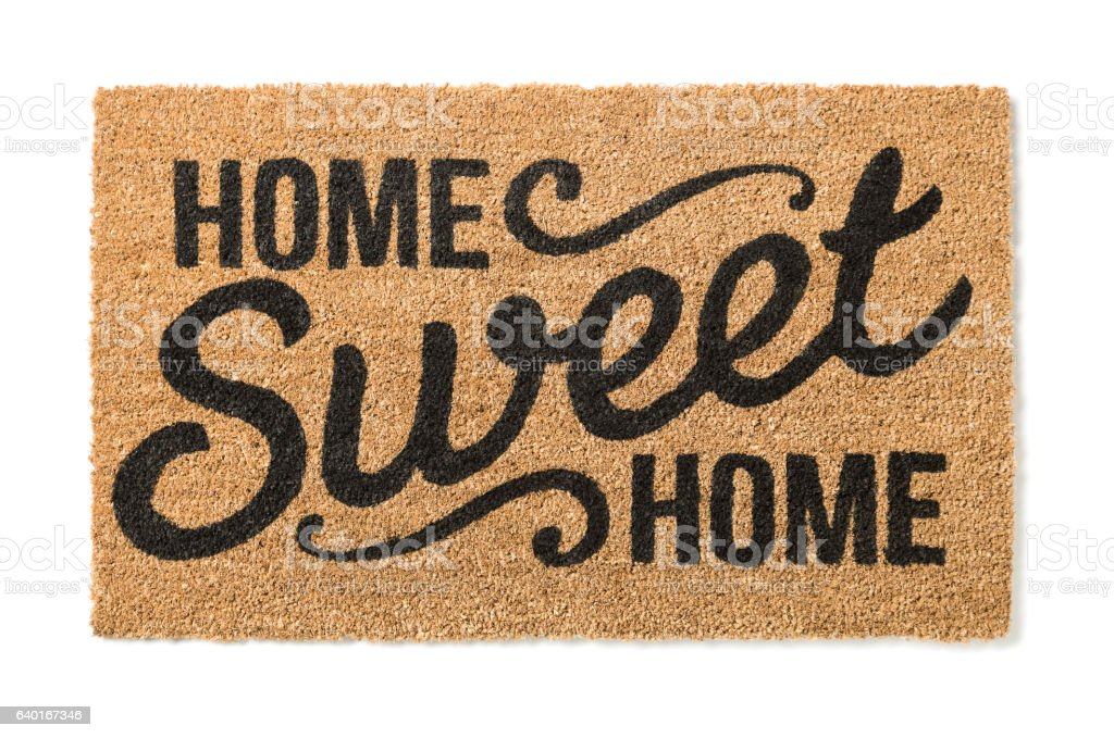 Home Sweet Home Welcome Mat Isolated on White - foto stock