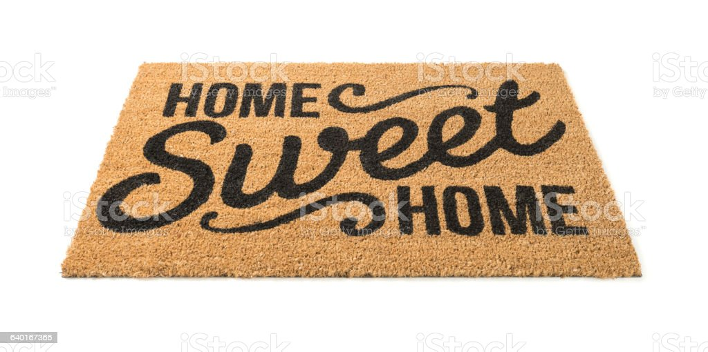 Home Sweet Home Welcome Mat Isolated on White stock photo