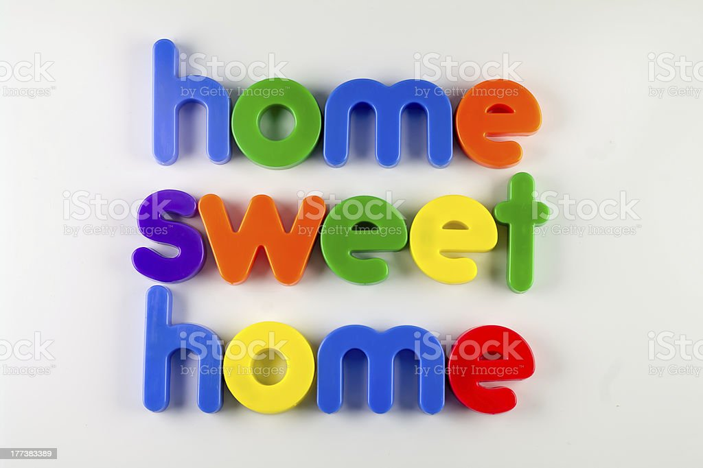 'home sweet home' written with fridge magnets stock photo