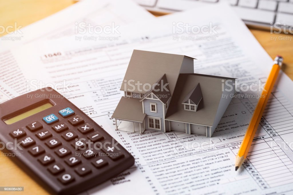 Home Tax Deduction Mortgage Interest stock photo
