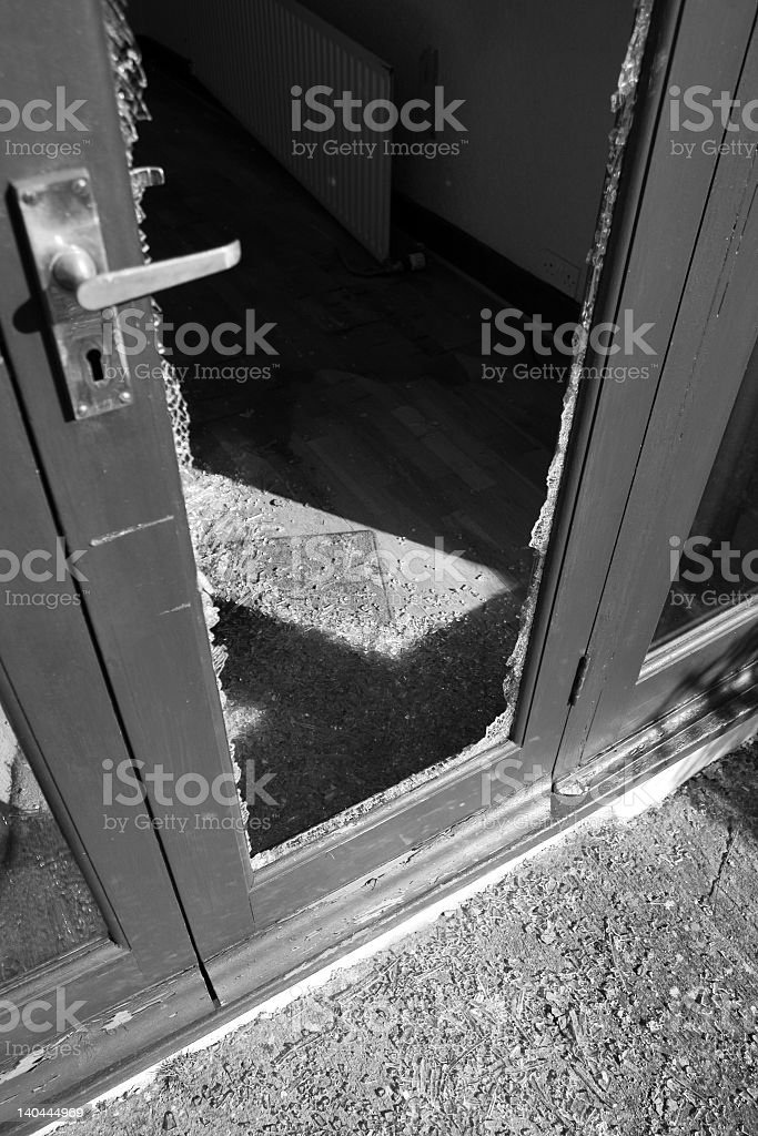 A home that has been vandalized stock photo