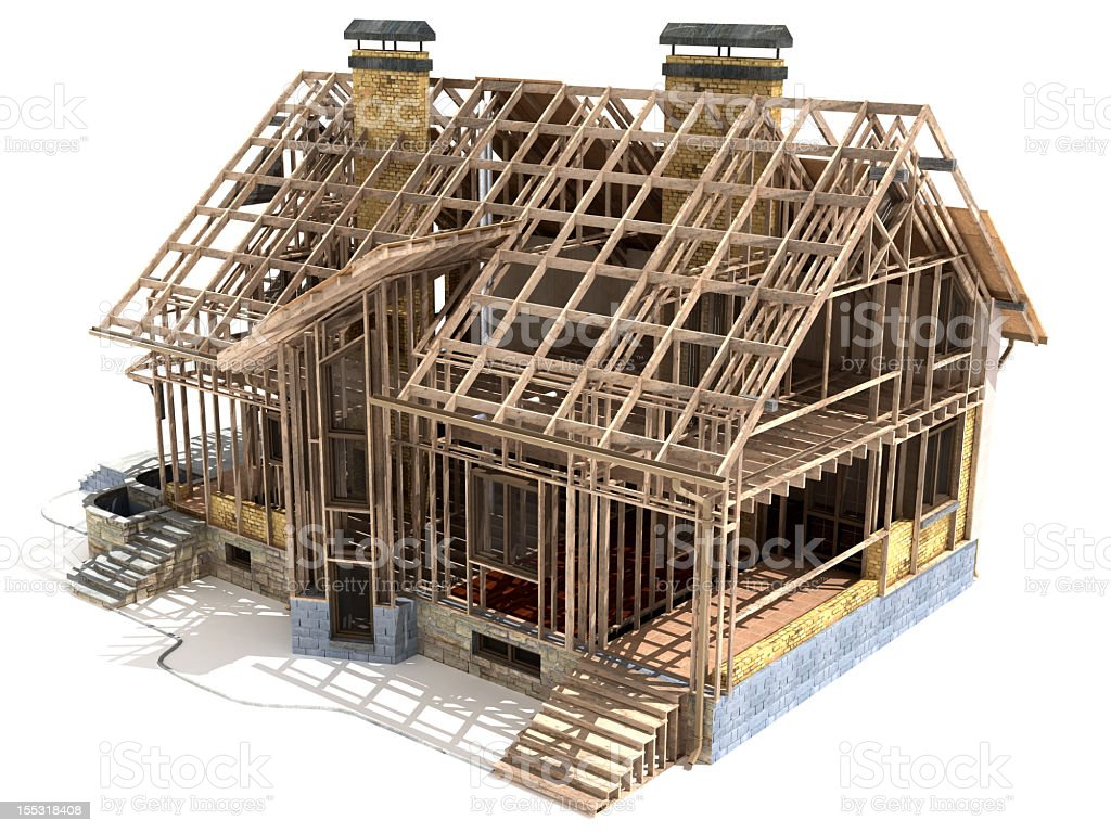 Home that is under construction stock photo