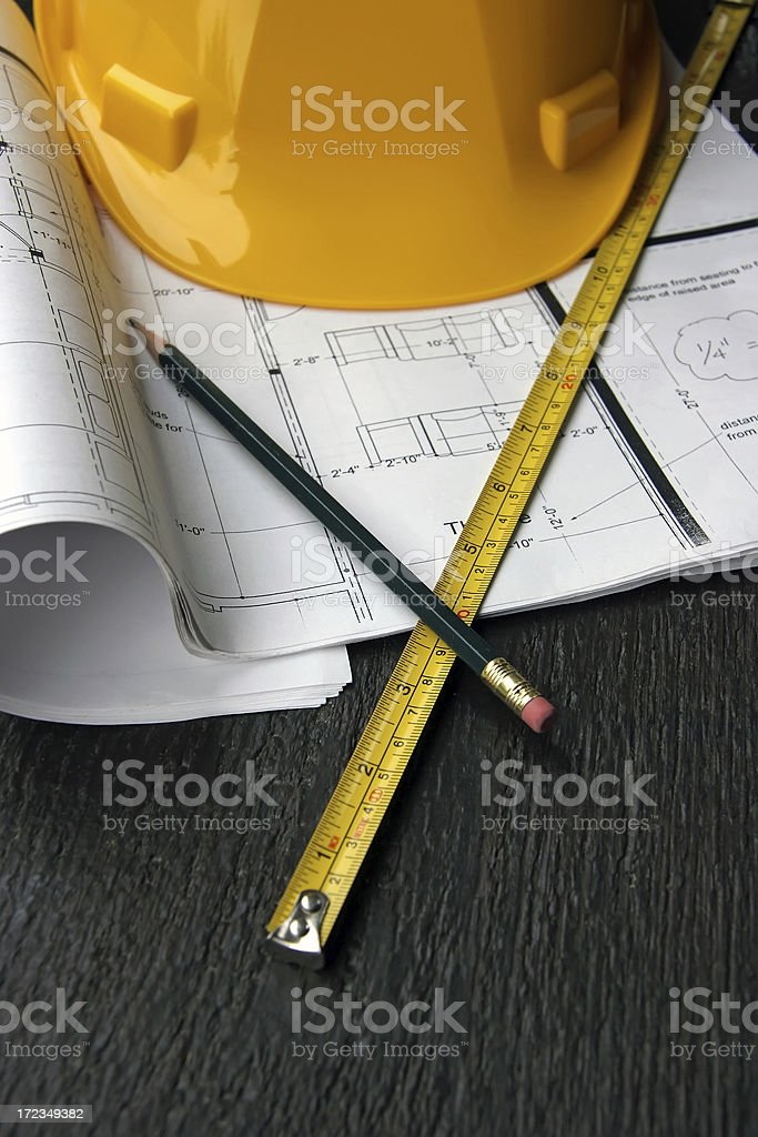 Home Theater And Renovation Drawings With  Hard Hat royalty-free stock photo