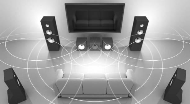 Home Theater and Sound Waves stock photo