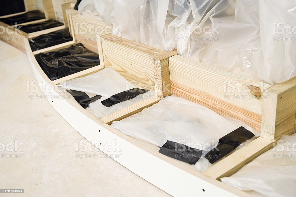Home Theater Stage Being Filled with Sand - Construction Detail stock photo