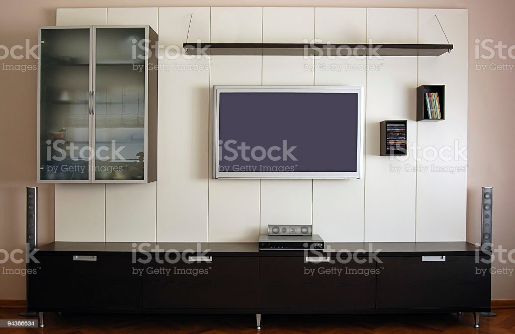 Home Theater System with Plasma TV set and it's furniture royalty-free stock photo