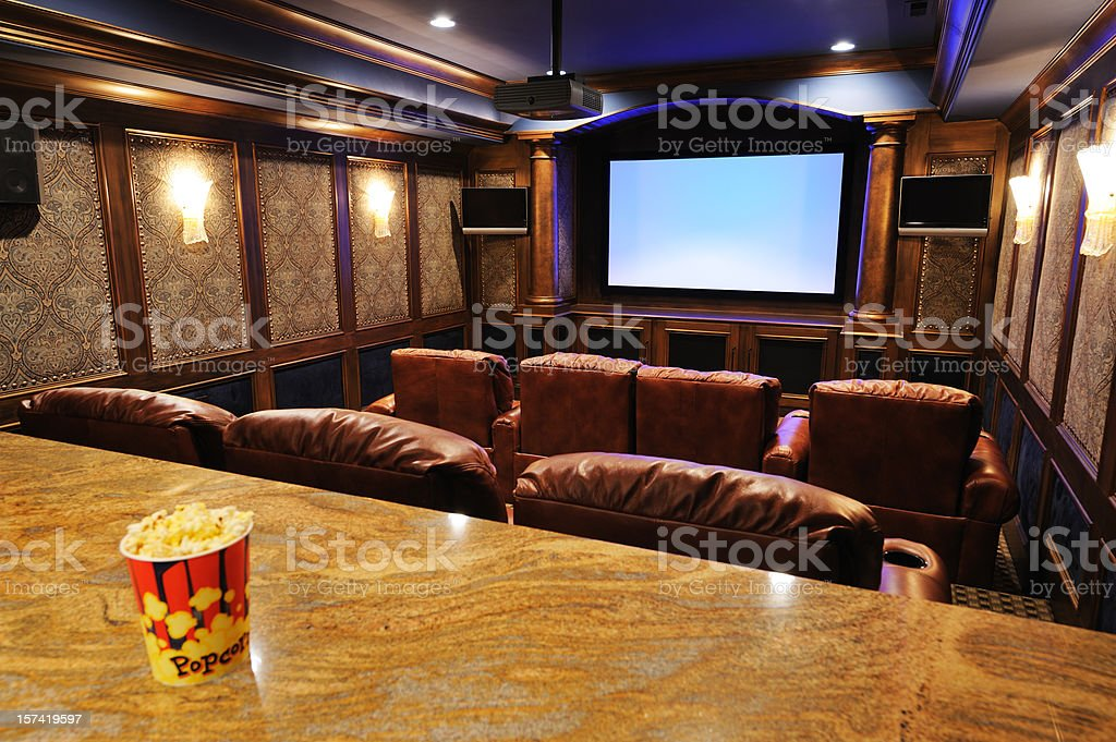 Home Theater with focus on screen stock photo