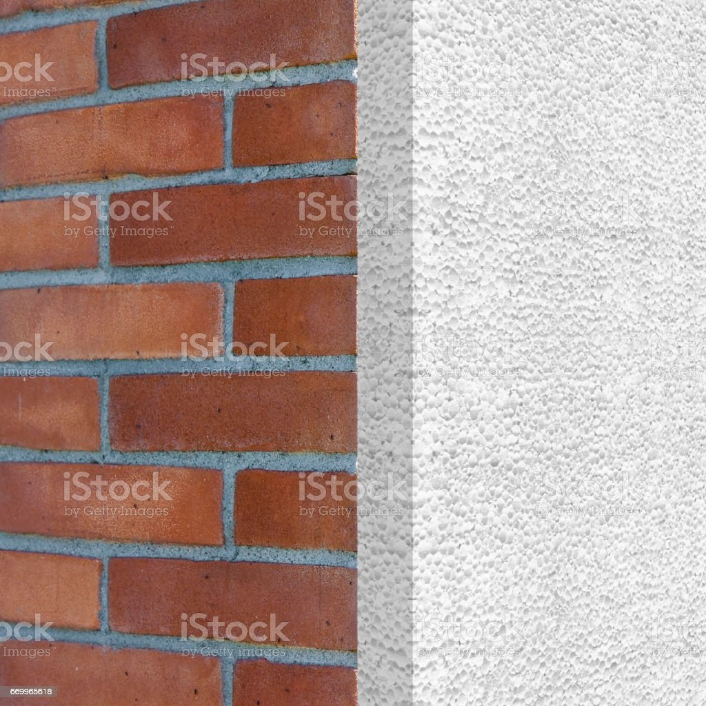 Home thermally insulated with polystyrene panels - Buildings energy efficiency 3D render concept image stock photo