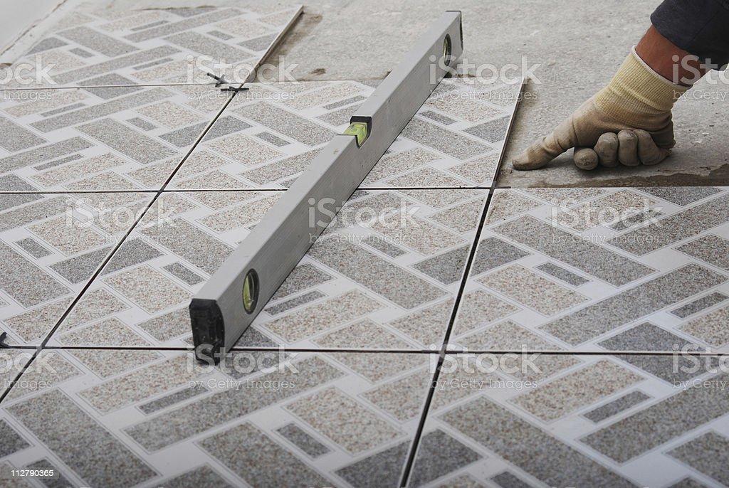 Home tile improvement stock photo