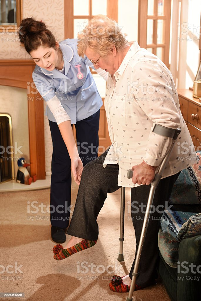 home visit physio stock photo