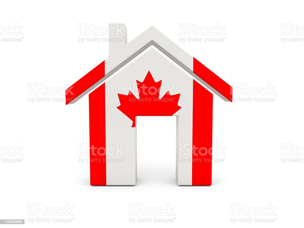 Home with flag of canada stock photo