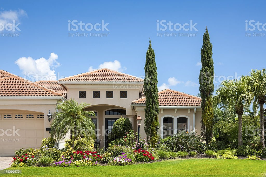 Home with Flower Garden stock photo