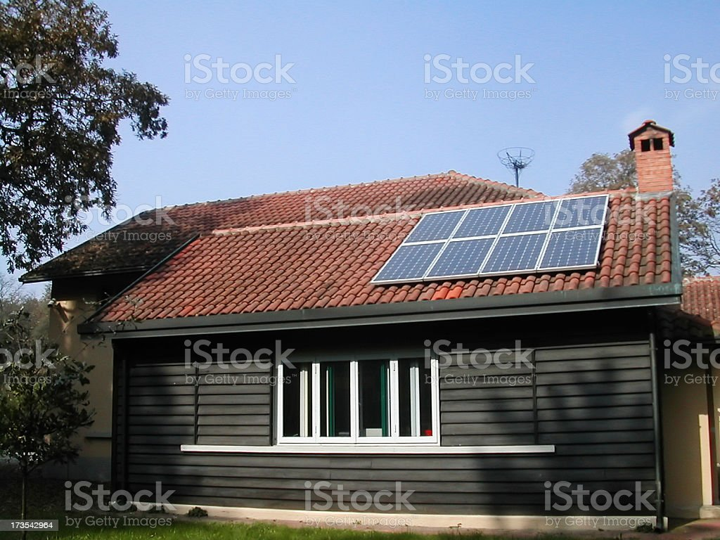 home with solar panels royalty-free stock photo