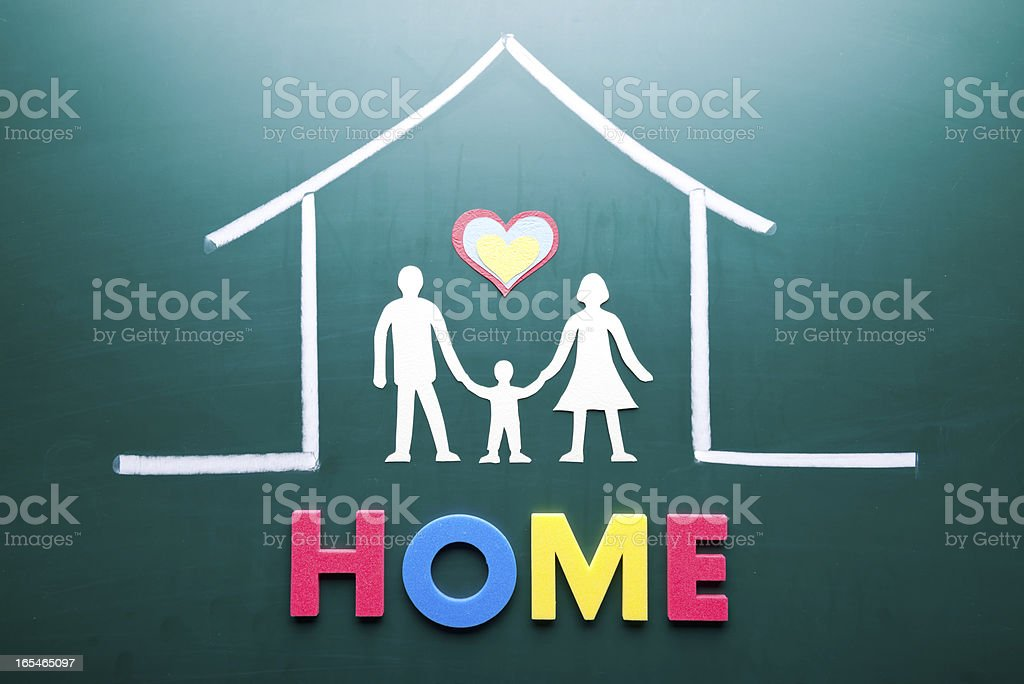 Home word and family in house royalty-free stock photo